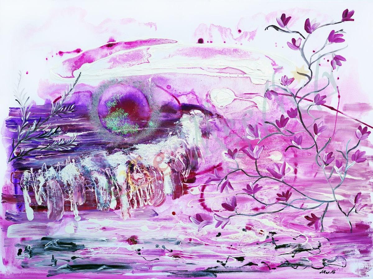 Ohne Titel violett rosa Mond 120cm x 90cm