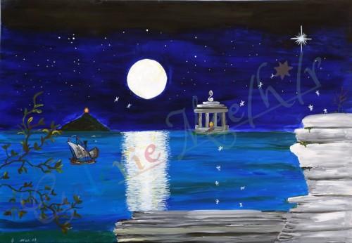 Wasser Mond Seelen Nacht 120cm x 90cm
