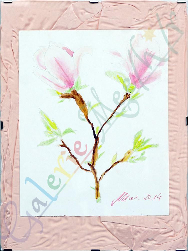 Magnolie mit Seide 30cm x 40cm
