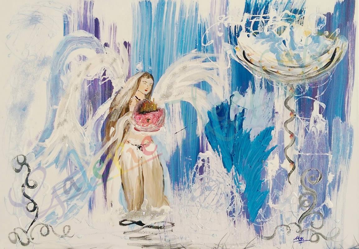 Engel mit Kelch 50cm x 70cm
