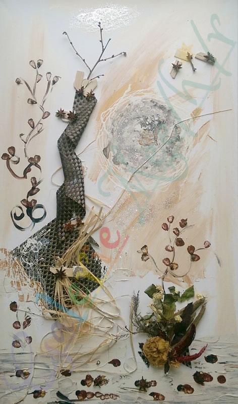 Collage mit Gewürzen 60x100